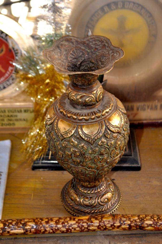 Intricately designed vase in the Balti museum in Turtuk