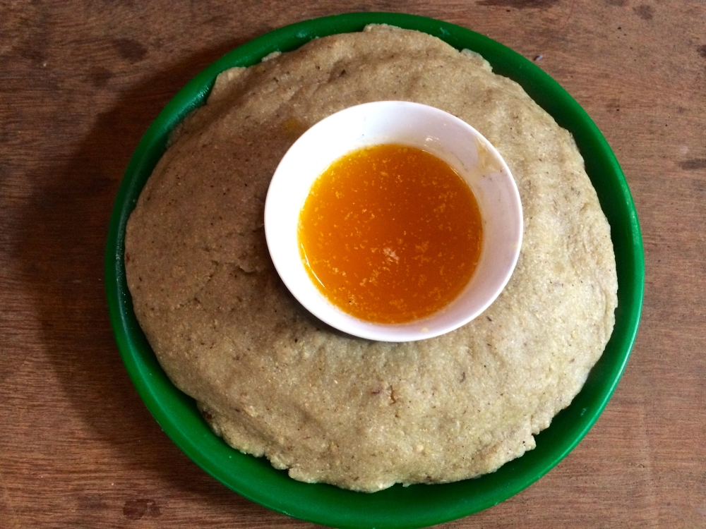 """'Zaan"""", made from buckwheat and eaten with home made butter"""