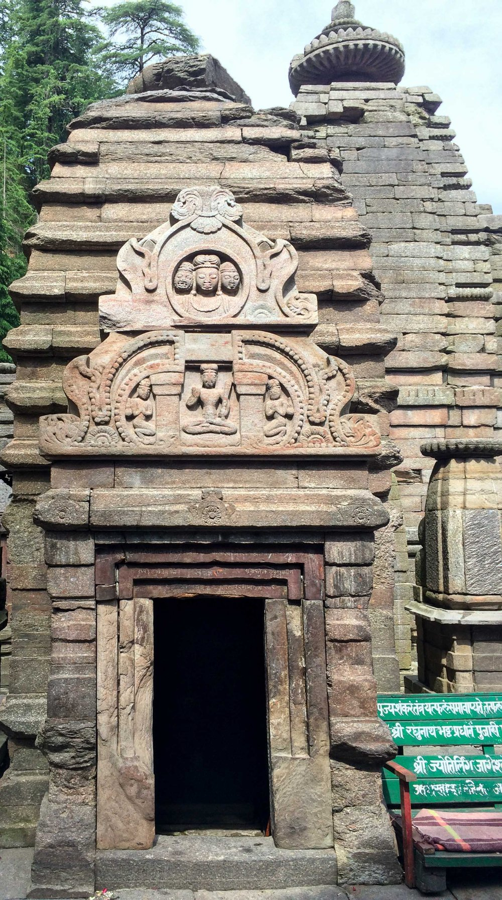 Carving on a temple in Jageshwar